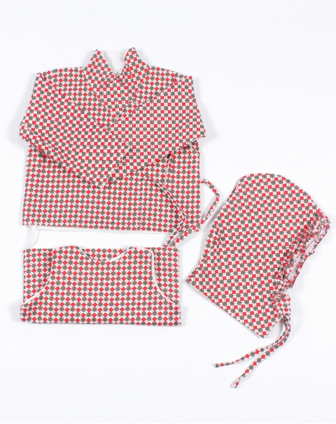 Red Green Check Print Bhoto Set