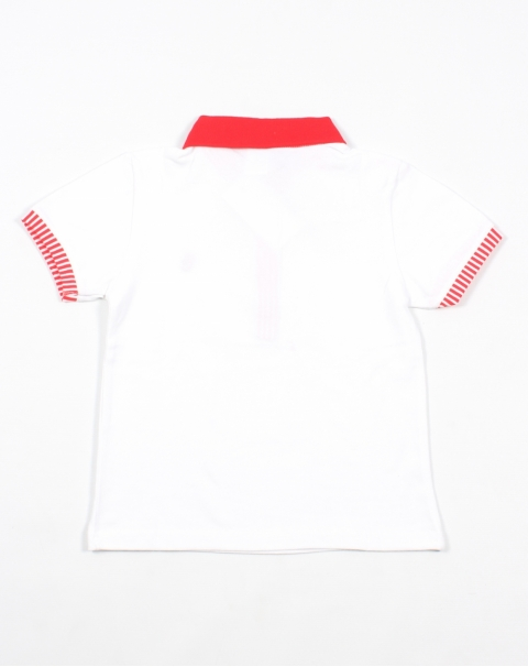 Red Stripe Polo T-shirt for Kids